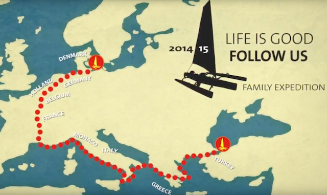 Kort over ruten fra København til Istanbul Kajaktur Lars Simonsen Lifeisgoodfollowus - interview på Alle Ud