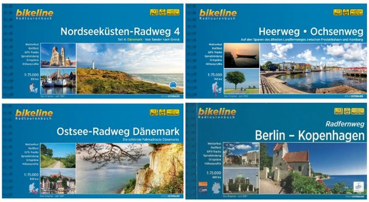 Bikeline cykelkort kortbøger nationale cykelruter Danmark Hærvejen Vestkystruten Østersøruten Nationalrute