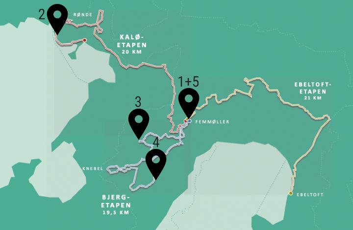 Mols Bjerge Stien - oversigtskort Korte vandrestier